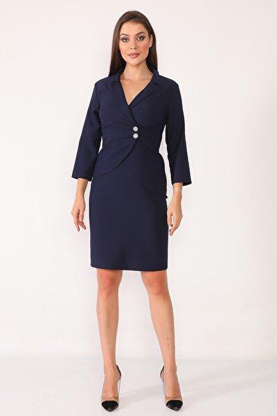 Kadın Lacivert Kruvaze Yaka Ve Ön Kısmı Düğme Detaylı Ofis Elbise
