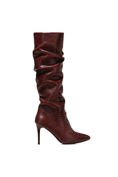SISSO Bordo Kadın Ökçeli Çizme 100582114