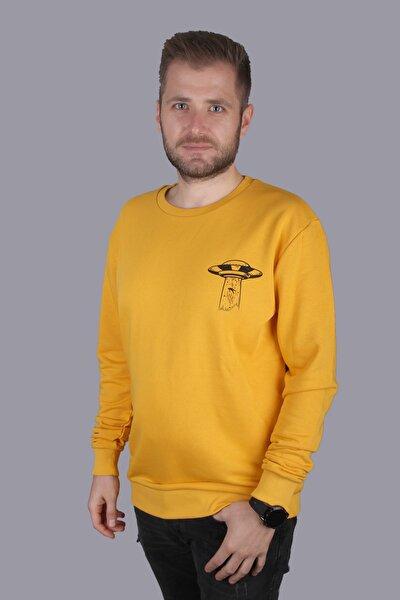 Erkek Hardal Oversize Ufo Baskılı Sweatshirt