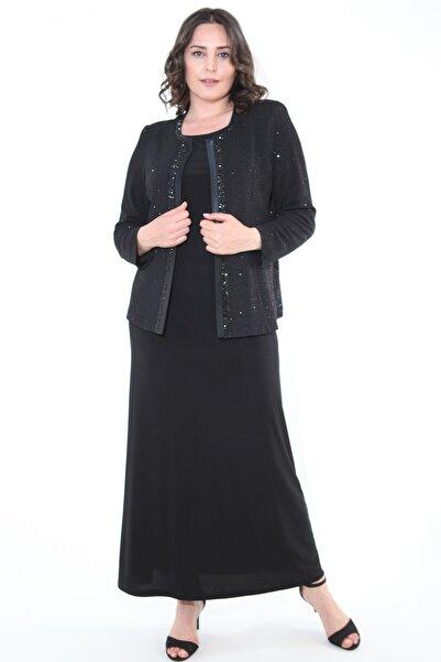 Kadın Siyah Büyük Beden 3306 Uzun Abiye Elbise