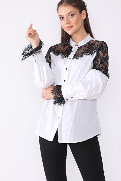 Kadın Beyaz Yaka Ve Kol Dantel Detaylı Gömlek