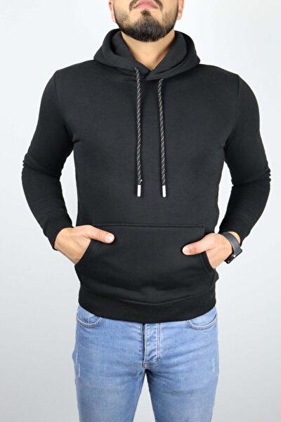 Erkek Siyah Kapüşonlu Kanguru Cepli Sweatshirt