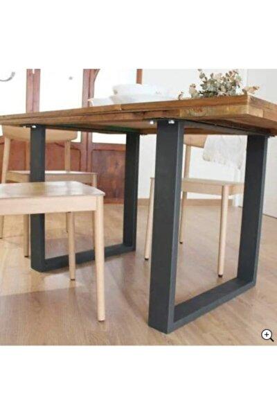 Kare Metal Masa Ayağı Kütük Bahçe Balkon Yemek Masası Mobilya Ayakları 70x60 Cm
