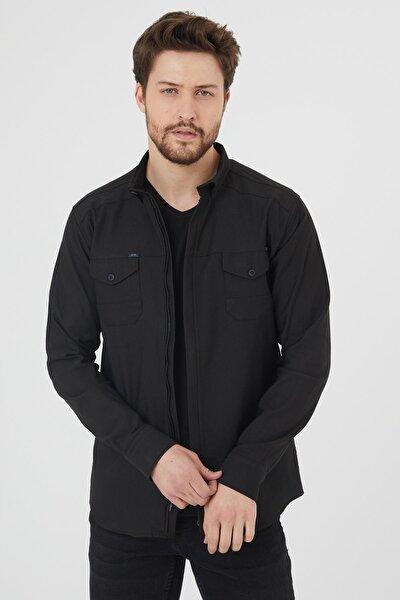Erkek Siyah Fermuarlı Ceket Tarzı Gömlek