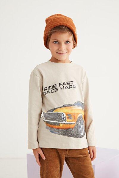 JESSIE Erkek Çocuk Bej Önü Baskılı Uzun Kollu  T-shirt