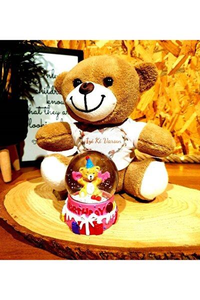 Happy Birthday Panda Doğum Günü Hediyesi Kar Küresi Ve Peluş Ayıcık