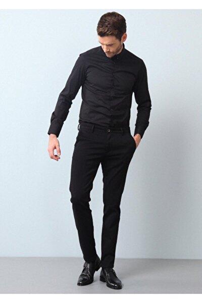 Erkek Siyah Düz Dokuma Uzun Kollu Gömlek