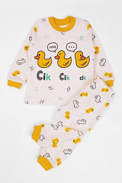 Bebek Pijama Takımı Ördek Baskılı  6-12 Ay Krem