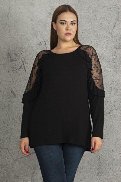 Kadın Siyah Büyük Beden Kol Fırfırlı Transparan Detaylı Bluz