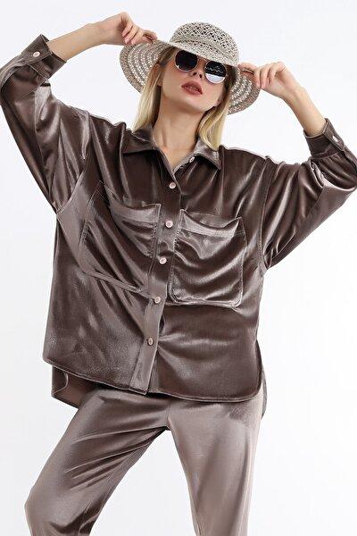 Kadın Kahverengi Düğmeli Kadife Gömlek