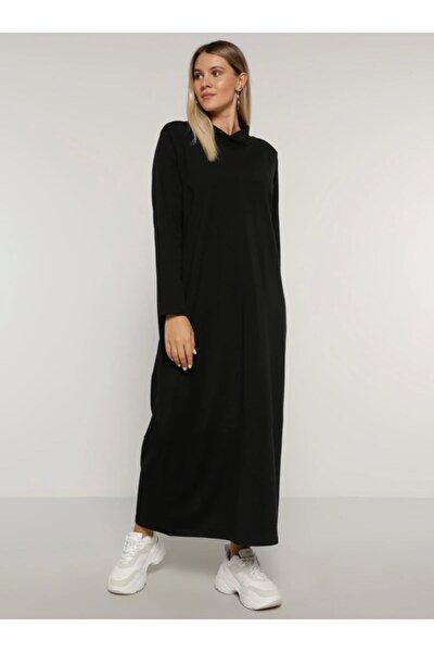 Büyük Beden Doğal Kumaşlı Düz Renk Elbise - Siyah -