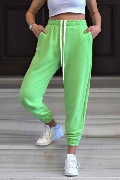 Kadın Neon Yeşil Basic Eşofman Altı Mg304