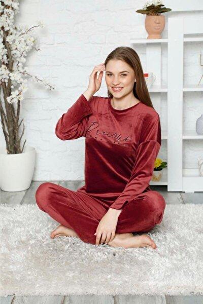 Kadın Bordo Yazılı Kadife Soft Pijama Takımı