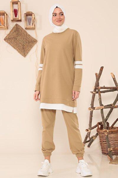 Kolları Şeritli Salaş Pantalonlu Takım