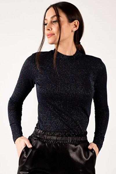 Kadın Lacivert Yarım Balıkçı Yaka Simli Bluz ARM-21K042020