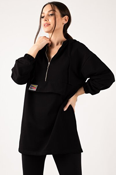 Kadın Siyah Cep Kapaklı Fermuarlı Kapişonlu Tunik ARM-21K024066