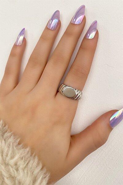 Kadın Gümüş Renk Düz Metal Ayarlanabilir Yüzük