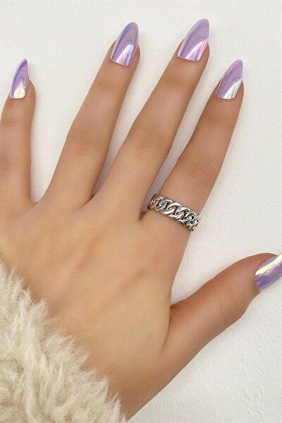 Kadın Gümüş Renk Zincir Metal Ayarlanabilir Yüzük
