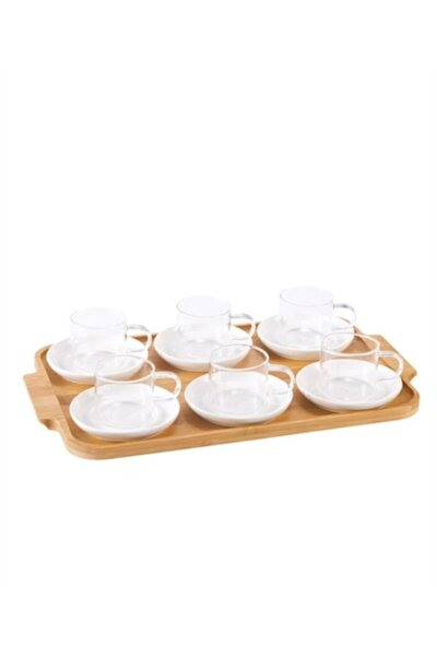 Acar Bambu Tepsi Porselen Tabaklı 6 Lı Cam Çay Bardağı