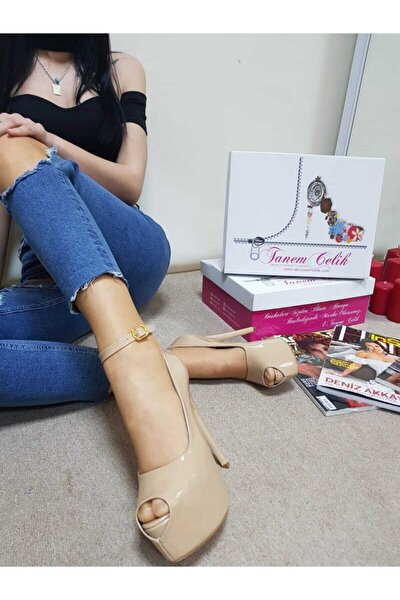 Kadın Bej 16cm Pumps Öpücük Model Ayakkabı