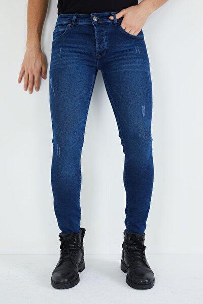 Erkek Mavi Tırnaklı Skinny Likralı Dar Paça Kot Pantolon