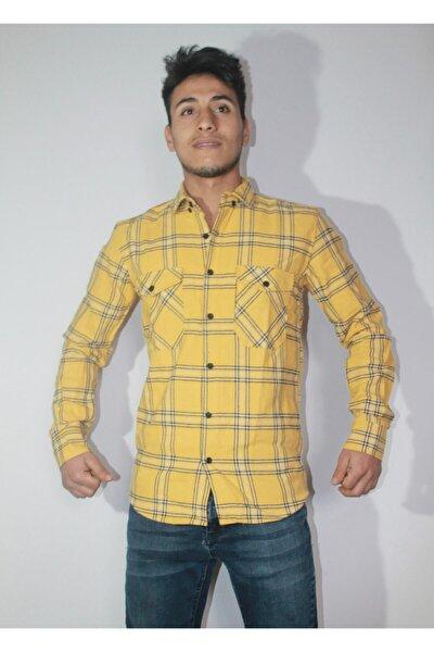 Erkek Gömlek Oduncu Gömlek Sarı Renkli Slimfit Genç