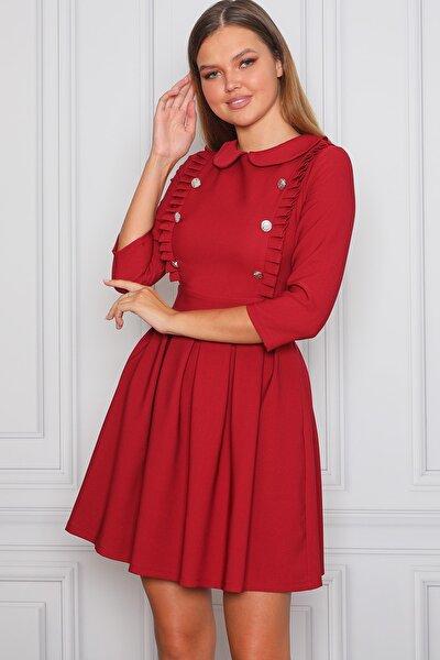 Kadın Kırmızı Pileli Ve Bebe Yaka Desenli Elbise