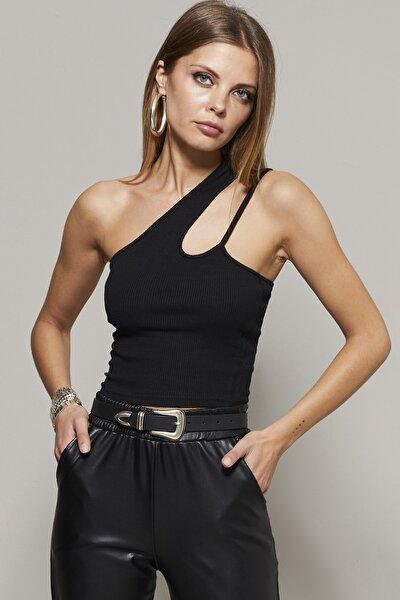 Kadın Siyah Tek Omuz Crop Bluz B165
