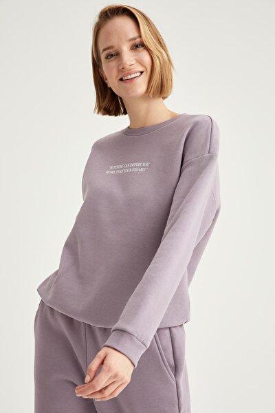 Kadın Lila Yazı Baskılı Relax Fit Sweatshirt