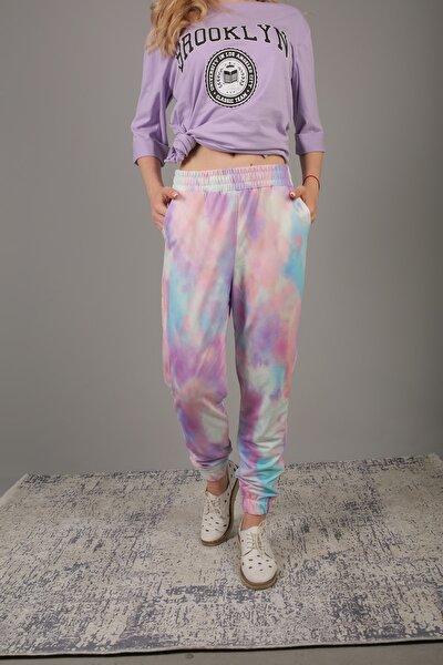 Kadın Çok Renkli Batik Desenli Jogger Eşofman Altı