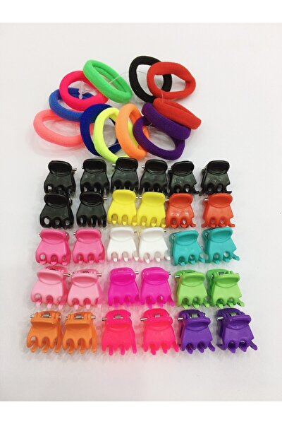 Renkli Karışık Küçük Mandal Toka 30 Adet & Renkli Küçük Havlu Lastik Toka 12 Adet