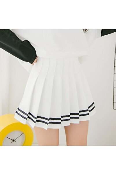 Kadın Harajuku Siyah Şeritli Beyaz Pileli Etek