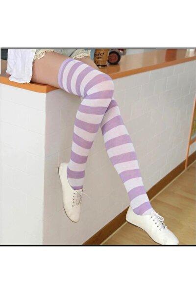 Kadın Lila Beyaz Diz Üstü Çorap
