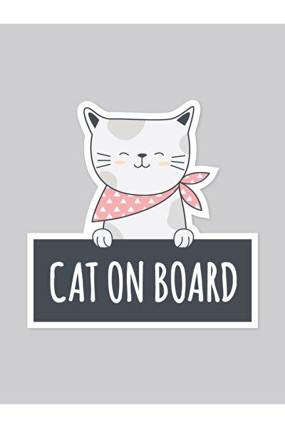 Cat On Board Araba Sticker