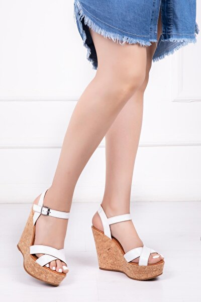 Hakiki Deri Beyaz Kadın Dolgu Topuklu Deri Sandalet Dp26-0050