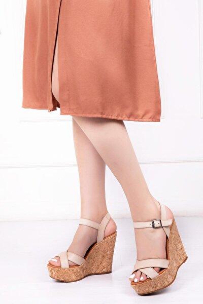Hakiki Deri Bej Kadın Dolgu Topuklu Deri Sandalet Dp26-0050