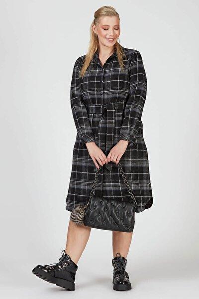 Kadın İndigo Oduncu Ekose Gömlek Elbise