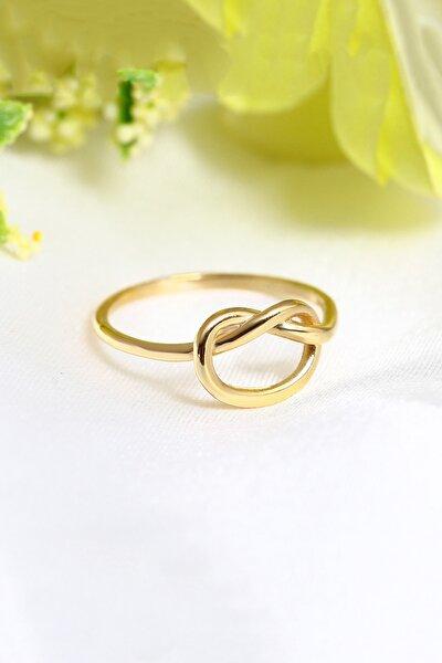 Kadın Gold Kaplama 14k Kalp Düğüm Ayarlanabilir Yüzük