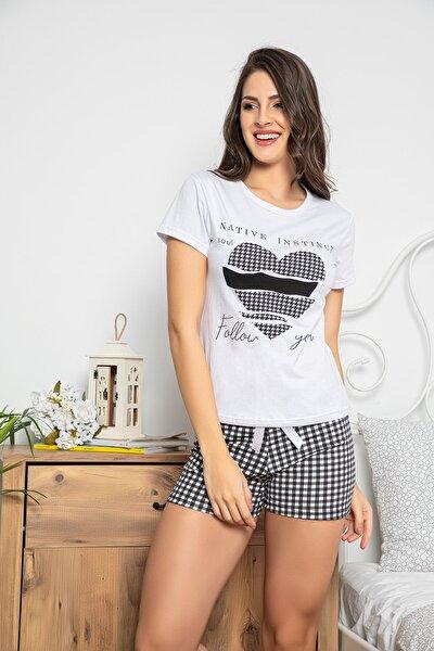 Kadın Beyaz Renkli Baskılı Kısa Kollu Şortlu Pijama Takımı 30070