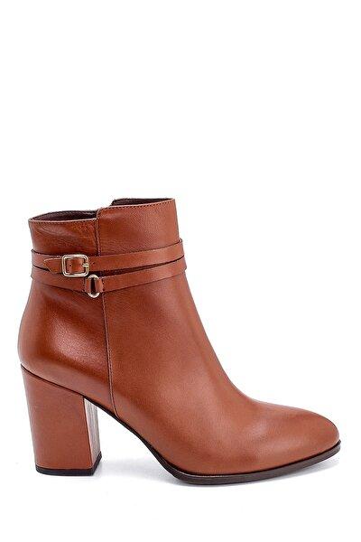 Kadın Kahverengi Deri Topuklu Bot