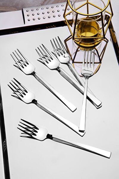 6 Adet Lüx Titanyum Gümüş Tatlı Çatal Seti
