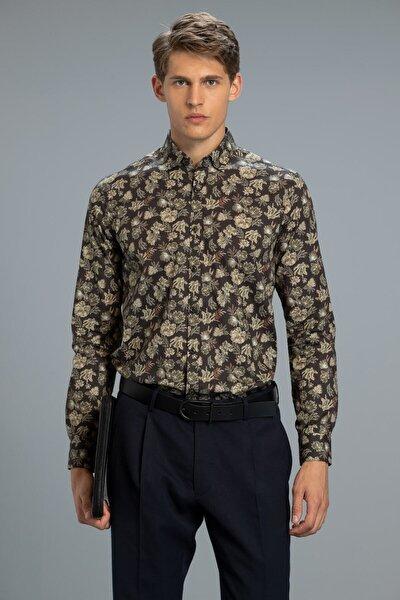 Erkek Slim Fit Kahverengi Sasha Smart Gömlek