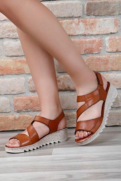 Kadın Kahverengi Hakiki Deri Sandalet 45508