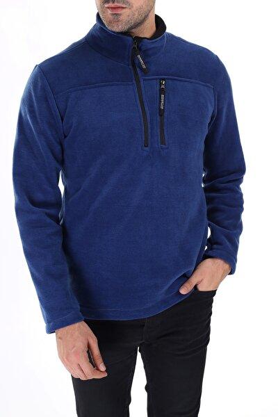 Erkek Mavi Yarım Fermuarlı Cepli Polar