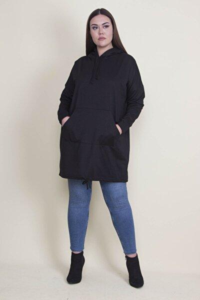 Kadın Siyah Kapşonlu Kanguru Cepli Sweatshirt 65N21332