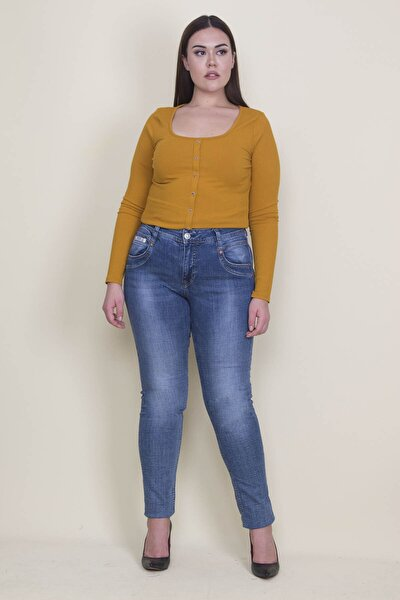Kadın Lacivert Yıkama Efektli 5 Cepli Kot Pantolon 65N21308