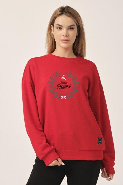 Oversize Sweatshirt Kırmızı Merry Christmas Geyik