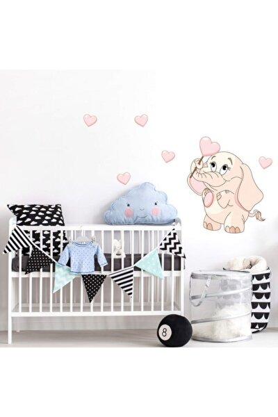 Bebek Fil Ve Kalp Bebek & Çocuk Duvar Sticker