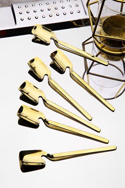 6 Adet Özel Tasarım Titanyum Gold Çay Kaşık Seti