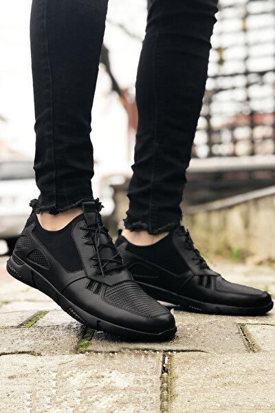 Hakiki Siyah Deri Spor Model Erkek Ayakkabı